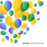 Balloons Background using Brazil flag colors. Vector illustration royalty free illustration