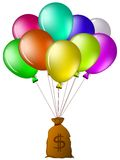 Balloons with a bag of money Stock Images