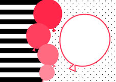 Stripes and pink balloons invitation card. Balloons and balloon frame to write message. Striped and polka dot background Royalty Free Stock Photos