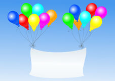 Balloons with banner Stock Images