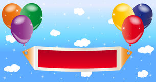 Balloons with Banner. Balloons with a blank banner on starry sky background Royalty Free Stock Images