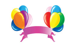Balloons with banner. Color balloons with banner illustration Stock Images