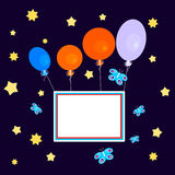 Balloons with banner on dark sky. Greeting Card - congratulation - a stylized sky full of stars, with colorful balloons that carry a blank sign Royalty Free Stock Images