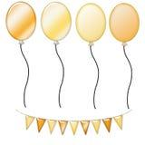 balloons banner gold yellow Στοκ Εικόνες