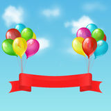 Balloons with banner. Illustration of two bunches of balloons with red ribbon banner on the background of blue sky with clouds Royalty Free Stock Photos