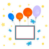 Balloons with banner on white sky. Greeting Card - congratulation - a stylized sky full of stars, with colorful balloons that carry a blank sign Stock Photography
