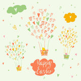 Balloons and a basket with Easter eggs. Vector greeting card tex Royalty Free Stock Photo