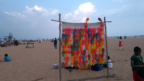 Balloons in beach Stock Image