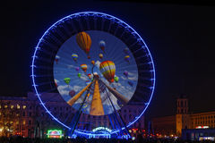Balloons on the big wheel of Bellecour Royalty Free Stock Image