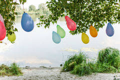 Balloons birthday celebration children. Colorful summer holiday Royalty Free Stock Images