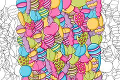 Balloons birthday and celebration concept in 3d cartoon doodle background   Stock Photo