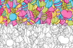 Balloons birthday and celebration concept in 3d cartoon doodle background   Stock Photography