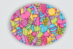 Balloons birthday and celebration concept in 3d cartoon doodle background design. Royalty Free Stock Photo