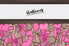 Balloons birthday and celebration concept in 3d cartoon doodle background design. Balloons birthday and celebration concept in 3d cartoon doodles background Stock Images