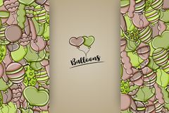 Balloons birthday and celebration concept in 3d cartoon doodle background design. Royalty Free Stock Photography