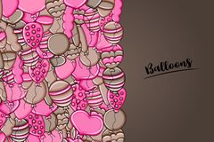 Balloons birthday and celebration concept in 3d cartoon doodle background design. Royalty Free Stock Photos
