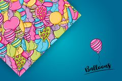 Balloons birthday and celebration concept in 3d cartoon doodle background design. Royalty Free Stock Images