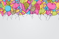 Balloons birthday and celebration concept in 3d cartoon doodle background design. Royalty Free Stock Image