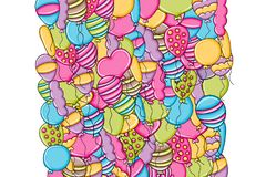 Balloons birthday and celebration concept in 3d cartoon doodle background design. Stock Photos
