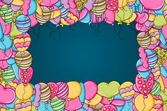 Balloons birthday and celebration concept in 3d cartoon doodle background design. Balloons birthday and celebration concept in 3d cartoon doodles background Royalty Free Stock Photos