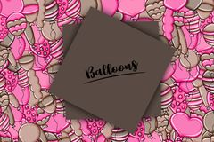 Balloons birthday and celebration concept in 3d cartoon doodle background design. Stock Photo
