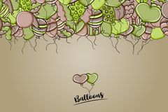 Balloons birthday and celebration concept in 3d cartoon doodle background design. Stock Image