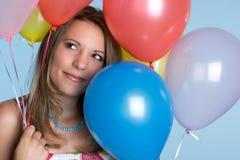 Balloons Birthday Girl. Pretty birthday girl with balloons stock image