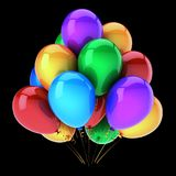 Balloons birthday party decoration multicolored on black. Balloons birthday party decoration multicolored. Green blue red yellow balloon bunch glossy. Happy Stock Photo