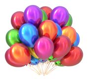 Balloons birthday party decoration multicolored. Balloon bunch. Balloons birthday party decoration multicolored. Colorful balloon bunch. Happy holiday Stock Photo