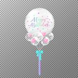 Balloons birthday on transparent background. Realistic big transparent balloon colorful vector illustration. For decorations birthday party design template royalty free illustration