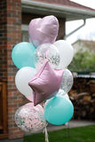 Balloons for birthday, wedding or other occasion. Colors: pink, Mint, white and transperent stock photography