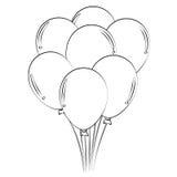 Balloons. Black outline vector balloons on white background Stock Images