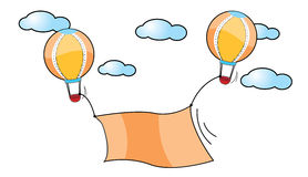 Balloons and blank orange frame. 2 Balloon up to the sky with blank orange Royalty Free Stock Photography