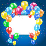 Balloons on blue background with card Royalty Free Stock Photos
