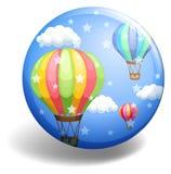 Balloons on blue badge Stock Photos