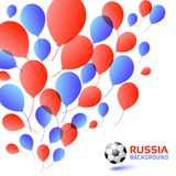 Balloons blue red color Background. Russian 2018 flag colors. Soccer ball icon. Vector illustration.  Royalty Free Stock Photos
