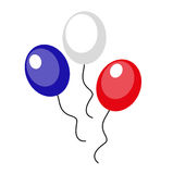 Balloons blue, red, white icon, flat style. 4th july concept. Isolated on white background. Vector illustration. Balloons blue, red, white icon, flat style. 4th royalty free illustration