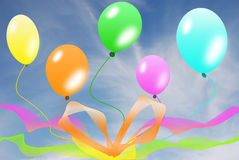 Balloons on blue sky Stock Images