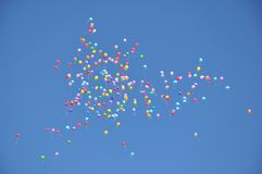 Balloons in the blue sky. Stock Images