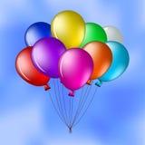 Balloons in the blue sky. Vector cartoon, bunch of various balloons in the blue sky Stock Photo