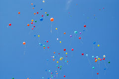 Balloons in the blue sky Royalty Free Stock Photo