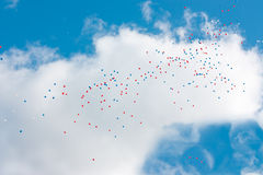 Balloons on blue sky Stock Photo