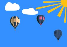 Balloons in blue sky Royalty Free Stock Photo