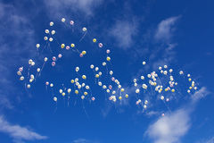Balloons on a blue sky Royalty Free Stock Photo