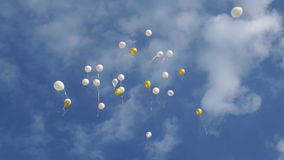 Balloons in the blue sky stock video footage