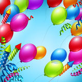 Balloons in the blue sky. Vector illustration. EPS 10 Royalty Free Stock Photography