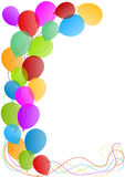 Balloons border card. Flying balloons border invitation or greeting card stock illustration