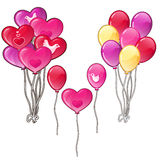 Balloons bouquets classic shapes and a heart Royalty Free Stock Photo