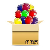 Balloons in a box. On a white background Royalty Free Stock Images