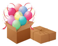 Balloons with boxes Royalty Free Stock Photography